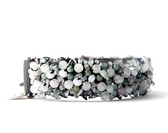 SOLD OUT - Dog collar : Rose quartz, green agate & faceted glass pearls