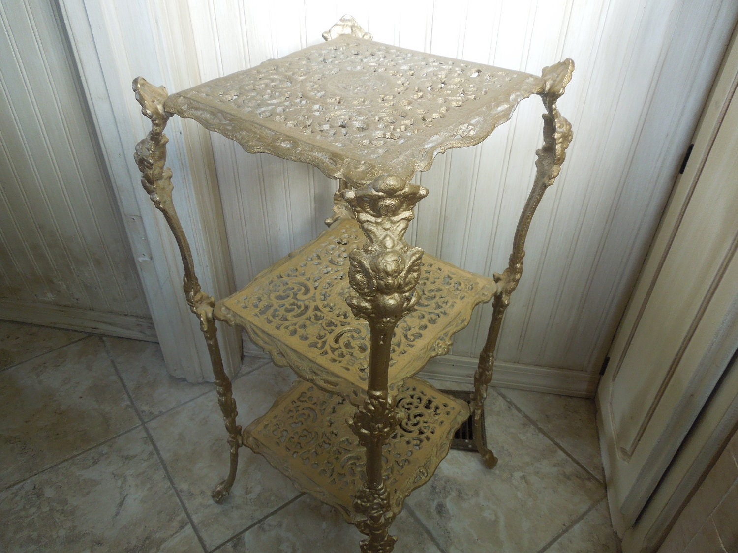 Vintage Brass Plant Stand Brass Table Three Tiered Stand