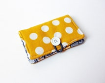 Yellow Polka Dot Fabric Business Card Holder, with Grey, Yellow, White Stripes - Credit Card Holder, Cloth Card Holder, Gift Card Holder