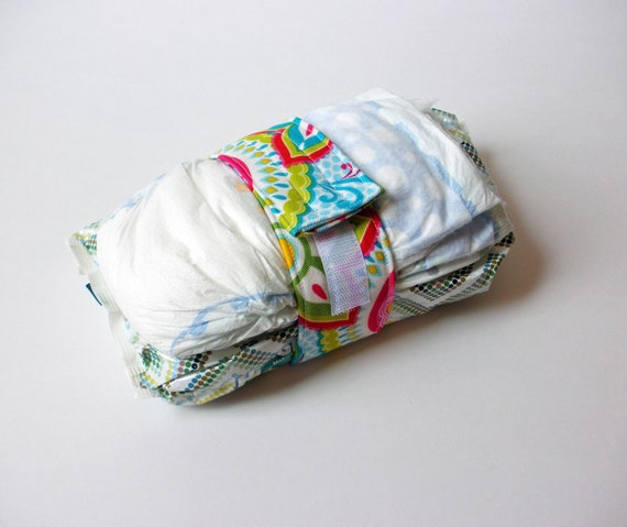 Diaper Strap - Light Blue with Paisley Floral