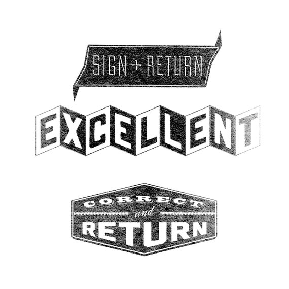 TEACHER 3-PACK: Excellent, Sign & Return, Correct and Return // Rubber Stamps