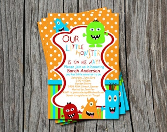 Little Monster Baby Shower or Sprinkle Invitation Card   - Any Color