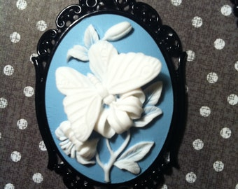 Butterfly Something Blue Wedding Cameo Necklace Pendant Ball Chain