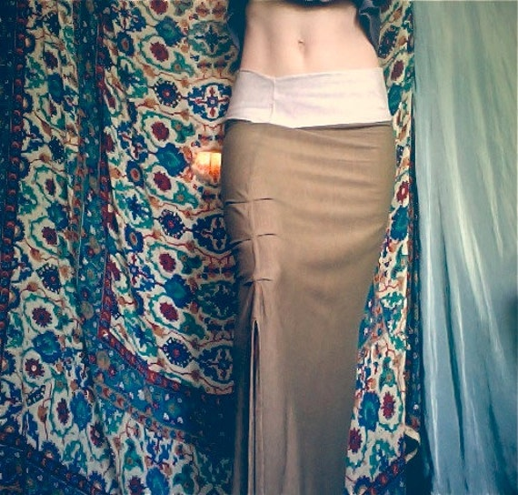 nadja skirt. long fitted tube skirt. organic bamboo hemp blend. choose your color. 'made to order'