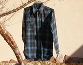 Mens Size 15 Wool Pendleton Blue Plaid Well Worn Button Up Western Shirt With Added Black Leather Elbow Patches