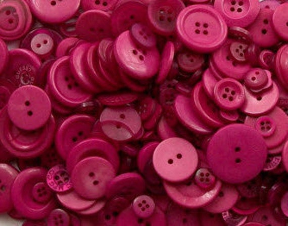 """40 Small Dark Raspberry Pink Buttons - for sewing, jewerly and crafts, bulk buttons in small sizes 1/8"""" up to 5/8"""""""