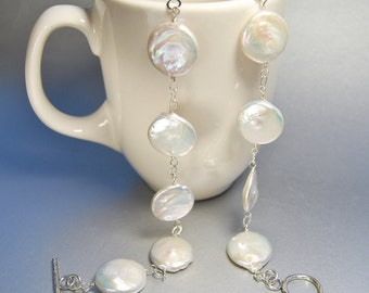 Coin Pearl Necklace . Wire Wrapped Flat Pearls . Wedding Jewelry