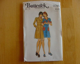 VINTAGE 1970s Butterick Pattern 3795 Misses' Shirtdress Size 12 Bust 34  Uncut