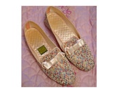 Vintage Daniel Green Slippers / Shoes Satin Brocade 7.5 Flat