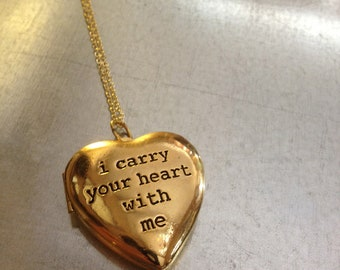 i carry your heart with me Gold Plated Heart Locket Necklace