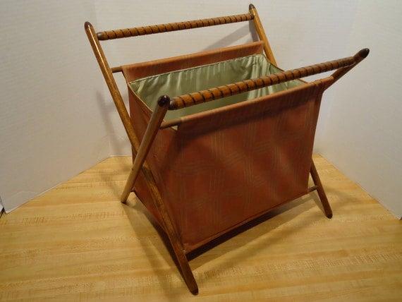 Vintage Folding Knitting Basket : Vintage folding knitting basket sewing by