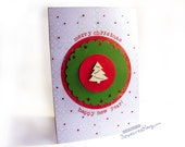 Christmas Tree Card Handmade Holiday Card with wooden christmas tree Red and Green / Personalized / Custom
