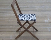 Vintage Oak Folding Chair, Pendleton Wool Seat