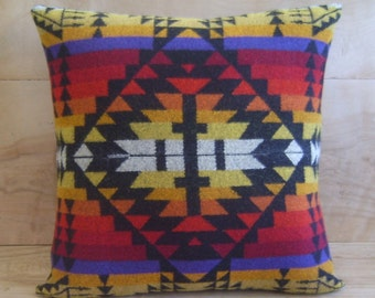 Wool Pillow - Red Black Cross - Geometric Tribal Arrow