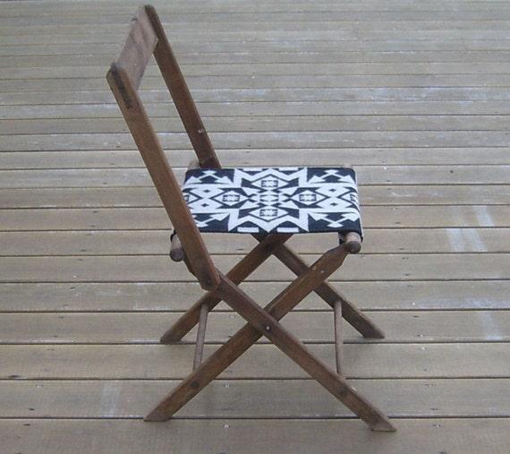 Vintage Oak Folding Chair, Pendleton Wool Seat