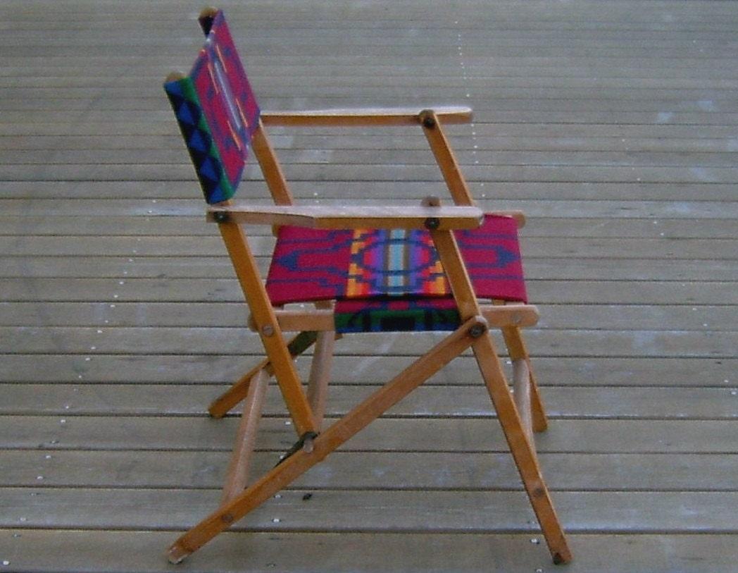 Vintage Oak Folding Deck Chair Pendleton Wool Seat Amp Backrest