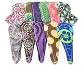 """8"""" Reusable Mama Cloth Thong Pads / Menstrual Pads / Incontinence Pads - Free Shipping* - Set of 12 - Customize Flow Level, Fabrics and Back"""
