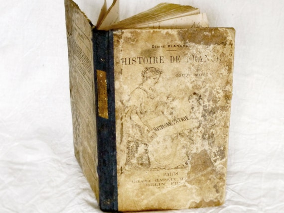 Shabby Chic Vintage Journal or Guestbook made from an antique French book