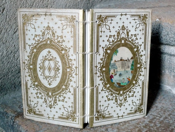 Antique French Sign In Book Guest Book.  Cream and Gold.  Shabby Chic Vintage Inspired.  Custom Order