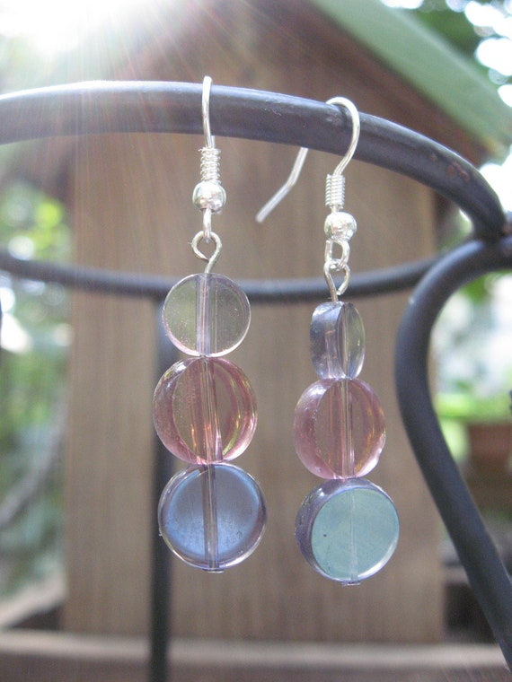 New Year SALE -- 25% Off -- Lavender and Rose Iridescent Earrings