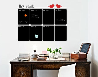 Office Weekly Planner Chalkboard Vinyl Decal, Wall Calendar Decal, Blackboard Vinyl Decal, Organize Your Home And Office Plans - ID411