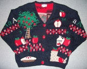 Vintage 80s 90s Apple Lovers Orchard Sweater Cider Butter Tree Pie Picking Farm Tacky Gaudy Ugly Christmas Party X-Mas Made In USA L Large
