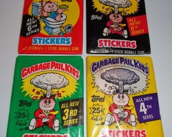 1980s Vintage Garbage Pail Kids Sealed Packs Series 3, 4, 5, 6 GPK Gross Hipster
