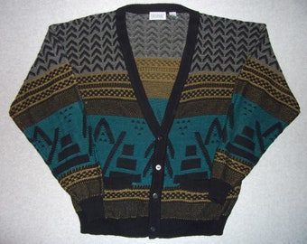 80s 90s Vintage Cosby Hipster Sweater Geometric Abstract Tribal Tacky Gaudy Ugly Christmas Party X-Mas w/ Pockets Button Up XL Extra Large