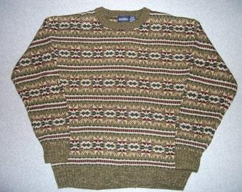 80s 90s Earthy Hipster Nordic Ski Sweater Horizontal Geometric Aztec 1980s 1990s Tacky Gaudy Ugly Christmas Party X-Mas M Medium