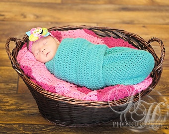 Crocheted Newborn Infant Cocoon/Swaddler Shower Gift Perfect for New Moms MADE TO ORDER