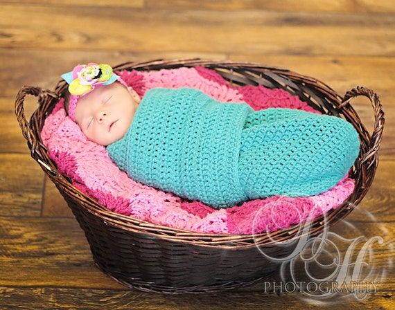 Crochet Pattern For Shell Baby Blanket : Crocheted Newborn Infant Cocoon/Swaddler Shower Gift Perfect