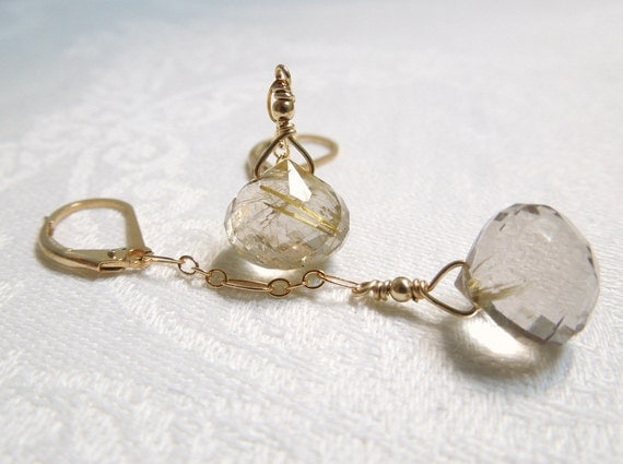 Rutilated Quartz Dangle Earrings Delicate Gold Filled Chain