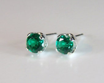Synthetic Emerald Earrings, 5mm x 0.50 Carat, Round Cut, Sterling Silver Post Earrings