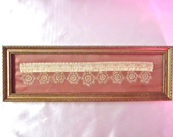Antique Intricate Handmade Framed Lace Wall Hanging