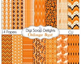 Halloween Ikat Scrapbook Paper in Orange for Digital Scrapbooking, Card Making, Photographers, Web Design, Instant Download