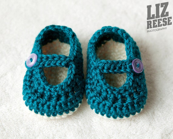 Mary Jane Crochet Baby Booties w/o Trim
