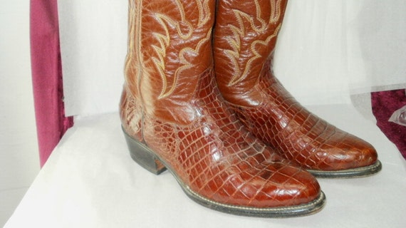Vintage Men's Leather Crocodile Embossed Cowboy Boots Embroidered Size 11 1/2 or 12