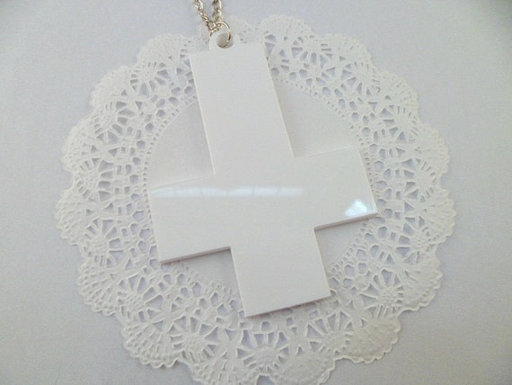 White Inverted Cross Laser Cut Necklace