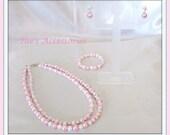 Girls Pink & White Pearl Set
