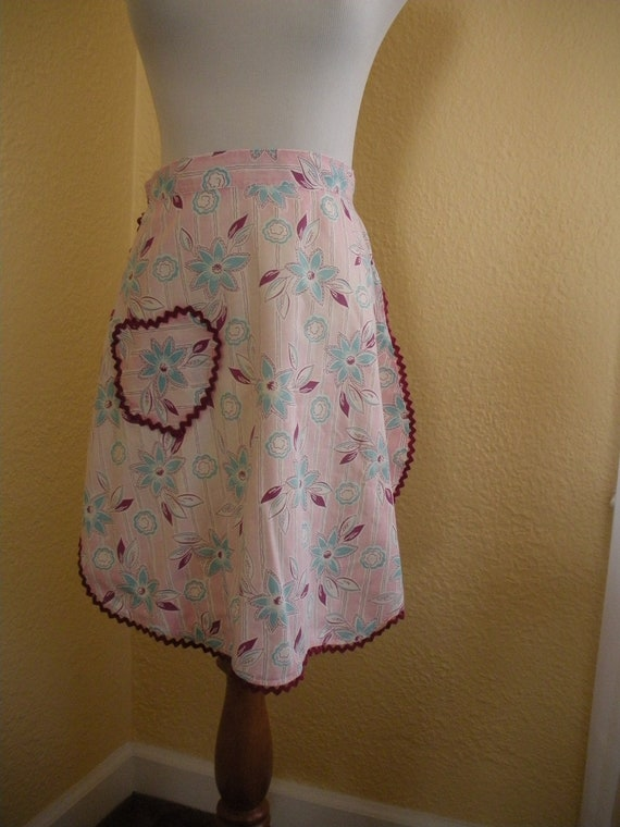 Cute Pink, Purple, and Turquoise Floral half apron