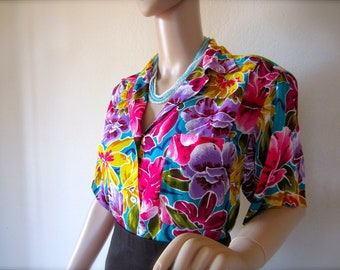 SALE Vintage 80s Bright Floral Christian Dior Blouse