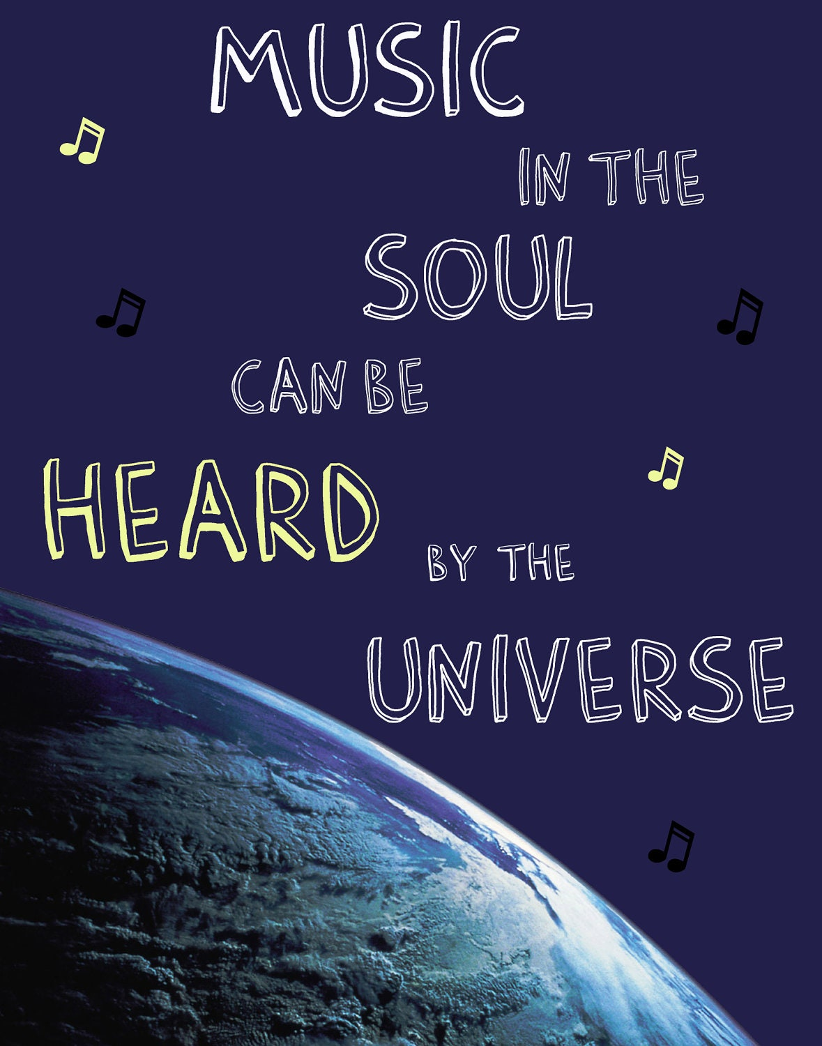 inspirational quotes word art poster music in the soul can