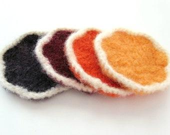 Flower Wool Coasters - set of 4 - Purple, Burgundy, Orange, Gold - felted crochet
