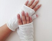 White Wool Fingerless Gloves Armwarmers  Hand Knit Chic Winter Accessories Winter Fashion