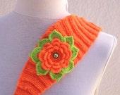 Orange  Hand Knitted Headband Ear Warmer with Crochet Flower