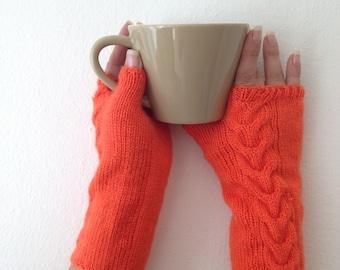 Orange Wool Fingerless Gloves Armwarmers Hand Knit Chic Winter Accessories Winter Fashion,halloween,christmas