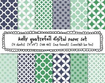 blue green quatrefoil patterns digital paper, mod preppy patterns digital bacgrounds, navy blue turquoise instant download 401