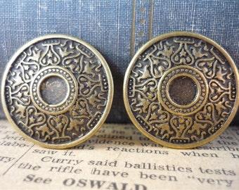 SALE- 6 pcs Antiqued Bronze Heavy Duty Ornate Heart Design Buttons 25mm (BB679)