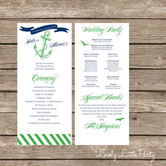 Classy Nautical Wedding Program- DIY Printable - Lovely Little Party - You Choose Color
