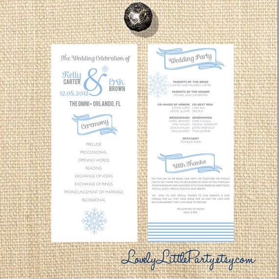Winter Wonderland Wedding Program- DIY Printable - Lovely Little Party - You Choose Color